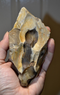 "A large and very attractive Neanderthal ""Levallois"" banded flint hand axe, Kent, SOLD"